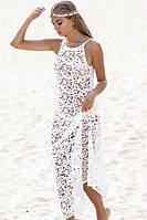 Пляжная туника белая, хлопковое кружево