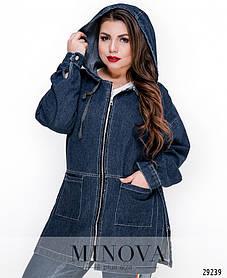 Джинсовая куртка с капюшоном на молнии большой размер от 48 до 56