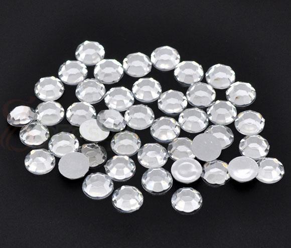 Стразы (50 штук) серебро Пластик 5 мм для шитья, декорирования и творчества