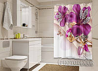 """Фото Шторка для ванной """"3D сиреневые цветы со стразами"""""""