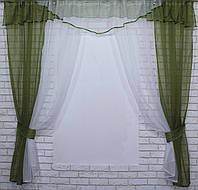 Комплект кухонные шторки с аркой и подвязками №55 Цвет оливковый с белым У