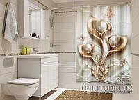 """Фото Шторка для ванной """"3D Каллы с жемчугом"""""""