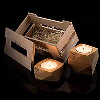 Набор из 2 штук в подарочном ящике подсвечник деревянный полигональный массив ольхи и цветное масло