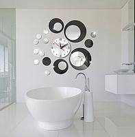 Настенный декор из акриловых кругов с часами, зеркальные и черные