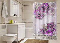 """Фото Шторка для ванной """"3D сиреневые цветы"""""""