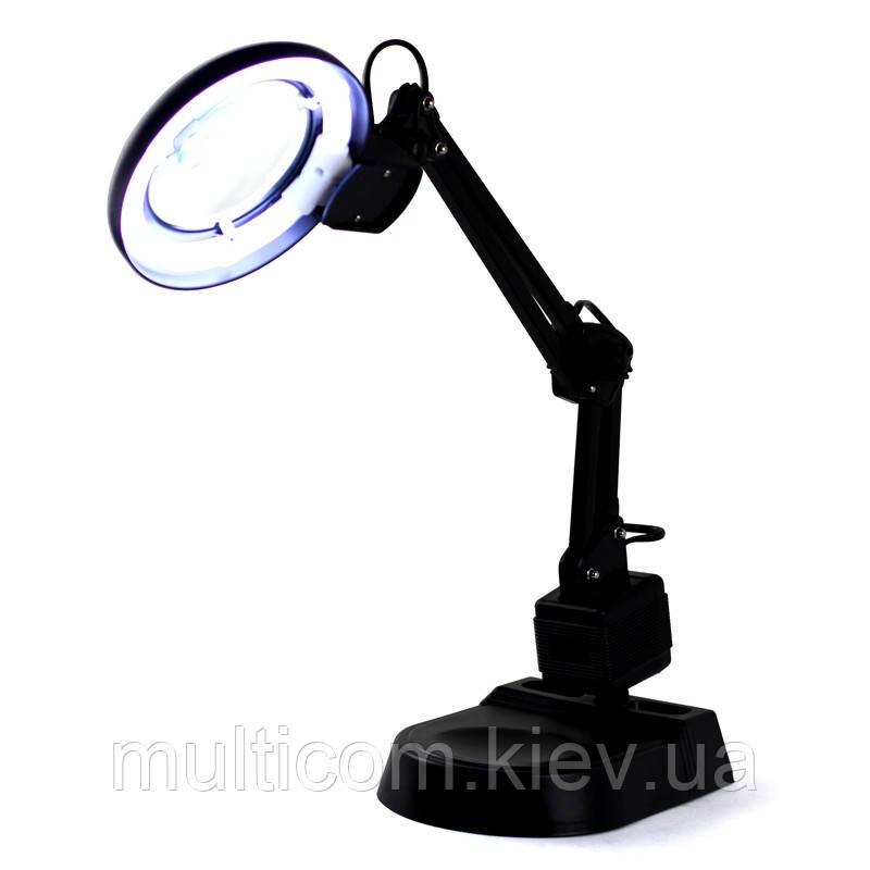 14-01-009. Лупа-лампа настольная 238, люмин.подсветка 11W, увеличение-2Х, черная, YIHUA