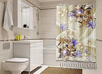 """Фото Шторка для ванной """"Броши и цветы"""""""