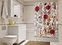 """Фото Шторка для ванной """"Бусинки и розы"""""""