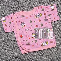 Хлопковая распашонка 56 0-1 мес кофточка короткий рукав на запах для малышей наружные швы КУЛИР 4749 Розовый