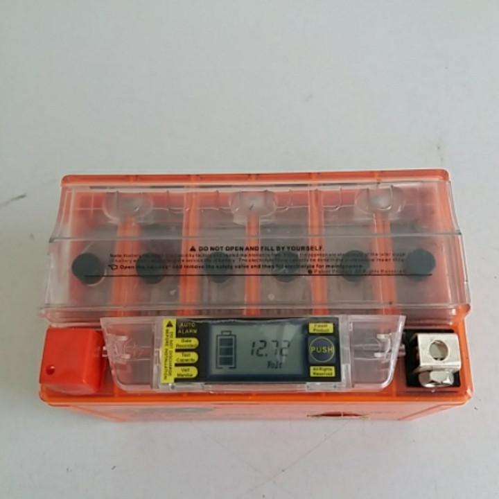 Аккумулятор 12V 9А гелевый (оранжевый, с индикатором заряда, вольтметром)