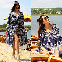 Пляжная накидка женская с принтом и бахромой, пляжный халат