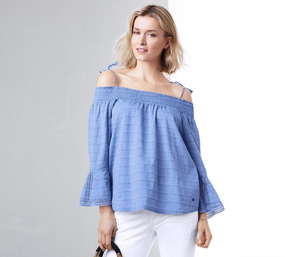 Шикарная воздушная блуза с открытыми плечами от тсм Чибо (Tchibo), Германия, размер 50-54