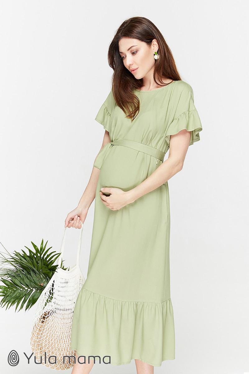 Платье летнее для беременных и кормящих Zanzibar ЮЛА МАМА (зелёный, размер L)