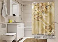 """Фото Шторка для ванной """"Золотые цветы 2"""""""