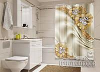 """Фото Шторка для ванной """"Золотые цветы с камнями"""""""