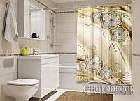 """Фото Шторка для ванной """"Серебряные цветы"""""""