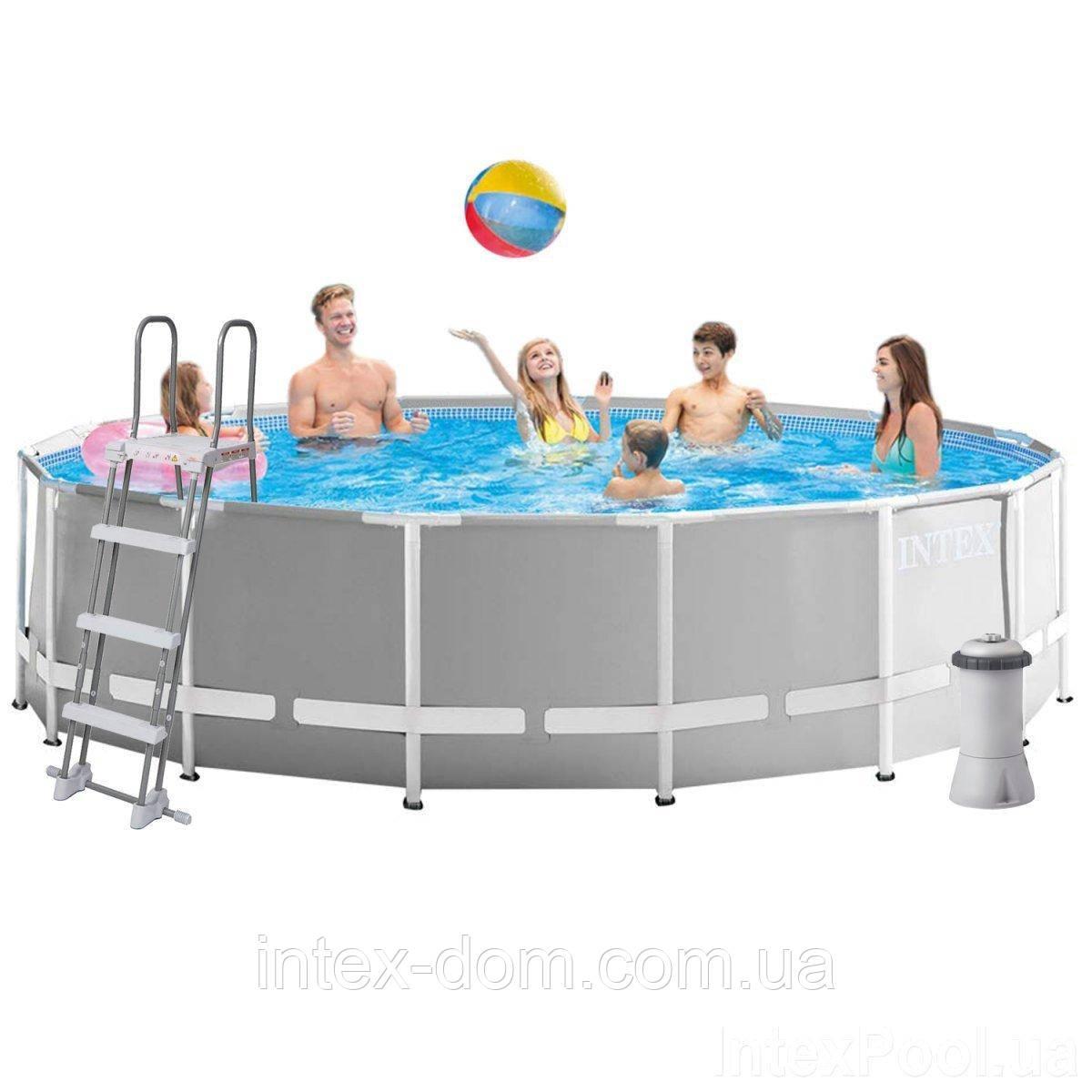 Каркасный бассейн Intex 26726,(457 x 122 см) (Картриджный фильтр-насос 3 785 л/ч, лестница, тент, подстилка)