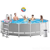 Каркасный бассейн Intex 26726,(457 x 122 см) (Картриджный фильтр-насос 3 785 л/ч, лестница, тент, подстилка), фото 1