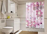 """Фото Шторка для ванной """"Стразы и бабочки"""""""