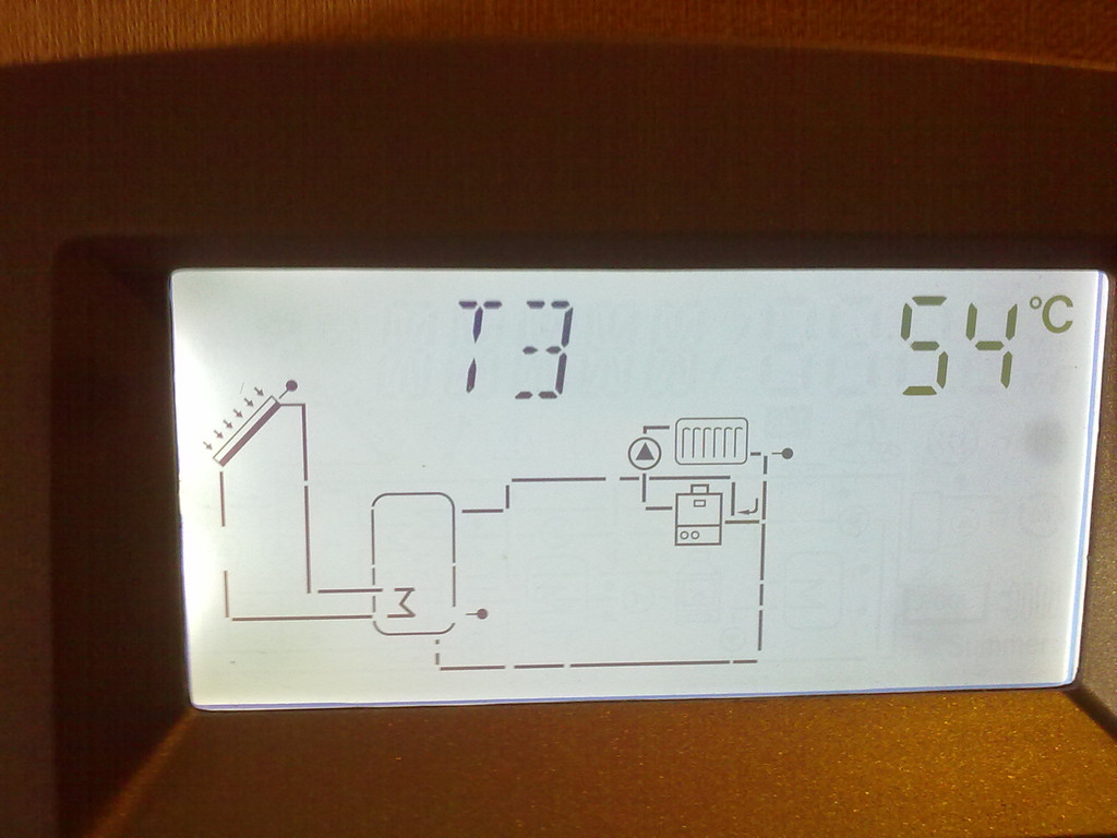 Температура в верхней части бака горячей воды (она ниже чем в нижней части, за счёт отбора тепла обратной линией системы отопления)