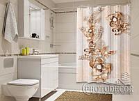 """Фото Шторка для ванной """"Узор из цветов"""""""