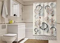 """Фото Шторка для ванной """"Цветы в кружках"""""""