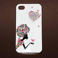 Чехол Цветочная фея и бабочки для Iphone 4/4S из высококачественного силикона