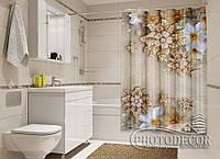 """Фото Шторка для ванной """"Цветы и драгоценности"""""""