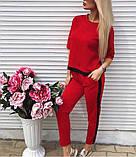 Женский костюм с лампасом футболка и брюки,  красный, черный, розовый, фото 2