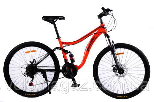 """Велосипед спортивный двухподвесной TopRider-920 24"""" оранжевый"""