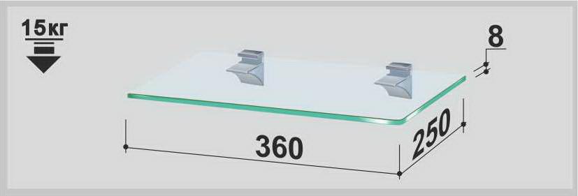 Полка стеклянная Gamma PL3 P (250х360х8) (прямоугольная прозрачная, графит, бронза)
