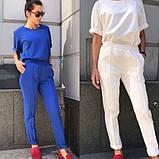 Женский классический костюм футболка и брюки, чёрный, красный, пудра, голубой, белый, бежевый, электрик, фото 2