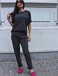Женский классический костюм футболка и брюки, чёрный, красный, пудра, голубой, белый, бежевый, электрик, фото 3