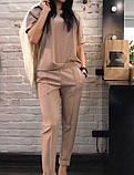 Женский классический костюм футболка и брюки, чёрный, красный, пудра, голубой, белый, бежевый, электрик, фото 5