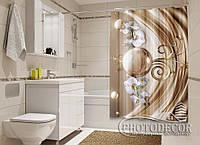 """Фото Шторка для ванной """"Шары с орхидеями"""""""