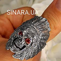 Кольцо с черепом серебряное - Индеец кольцо череп серебро 925 - Байкерское серебряное кольцо Череп Индейца