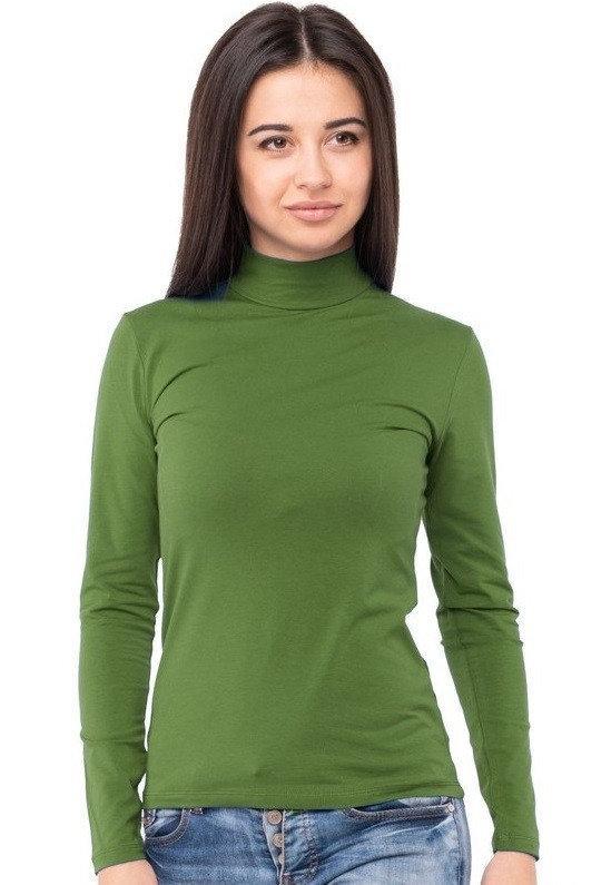 Гольф водолазка жіноча з довгим рукавом без малюнка трикотажна однотонна стрейчева, оливкова