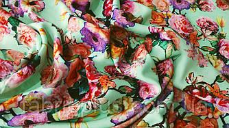 Штапель цветы на мятном 140 см