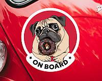 """Виниловая наклейка на машину или ноутбук """"Мопс с пончиком, красная"""""""