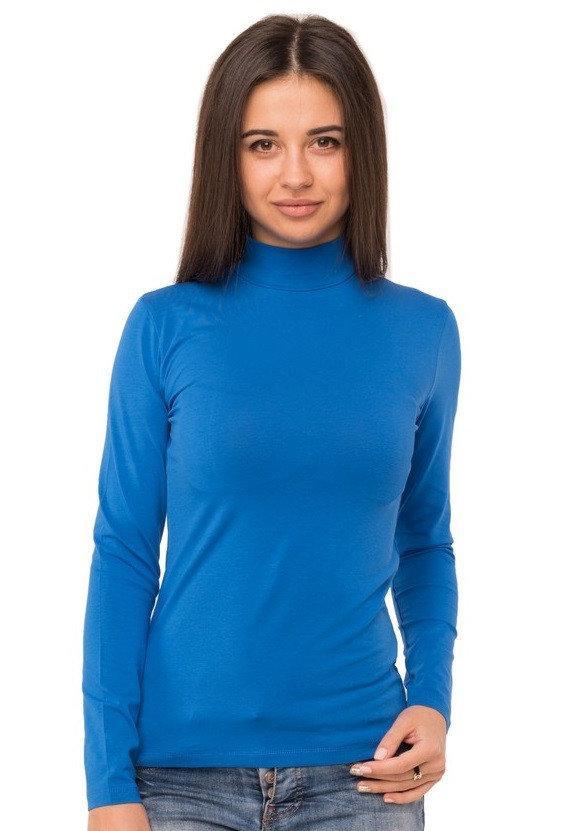 Водолазка женская однотонная с длинным рукавом без рисунка трикотажная стрейчевая, синяя