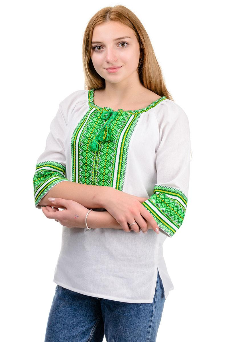 "Нарядная женская блуза ""Вышиванка"" зеленый орнамент"