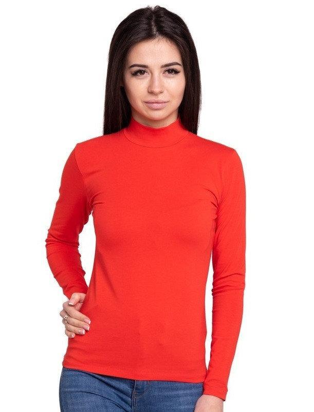 Водолазка женская с длинным рукавом без рисунка трикотажная однотонная стрейчевая, красная
