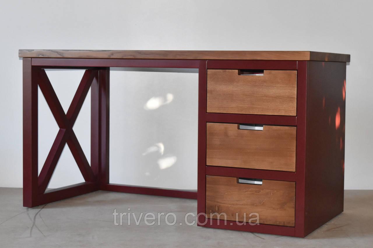 Стол офисный из массива дерева в стиле лофт