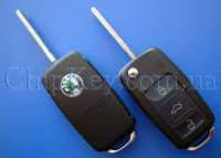 SKODA выкидной ключ (корпус ) 3 - кнопки New (Артикул: F211SK)