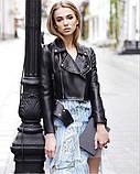 Женская стильная куртка-косуха с клёпками, фото 3