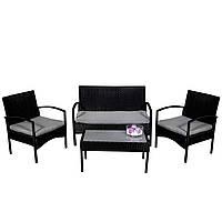 Комплект садовой мебели плетеной из ротанга AGOSTAN (черный)