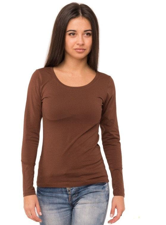 Лонгслив женский футболка однотонная с длинным рукавом трикотажная, коричневая