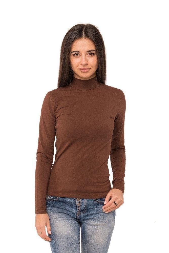 Водолазка женская однотонная с длинным рукавом без рисунка трикотажная стрейчевая, коричневая