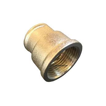 Муфта латунна перехідна 1/2*3/4 нікельована