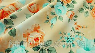 Ткань супер софт розы на персиковом 145 см